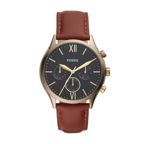 fossil Fenmore Midsize Multifunction Brown Leather Watch BQ2404