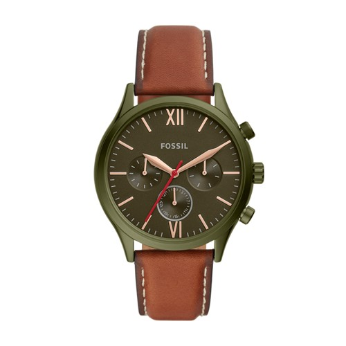 fossil Fenmore Midsize Multifunction Luggage Leather Watch BQ2409