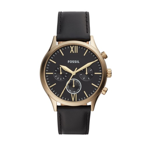 Fenmore Midsize Multifunction Black Leather Watch BQ2410