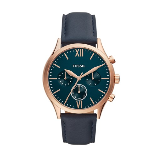 Fenmore Midsize Multifunction Navy Leather Watch BQ2412