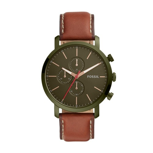 fossil Luther Chronograph Luggage Leather Watch BQ2414