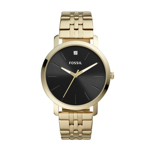 fossil Lux Luther Three-Hand Gold-Tone Stainless Steel Watch BQ2416