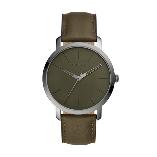 fossil Luther Three-Hand Olive Leather Watch BQ2420