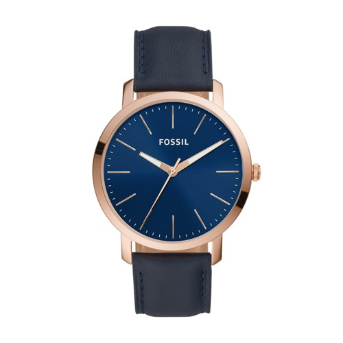fossil Luther Three-Hand Navy Leather Watch BQ2424
