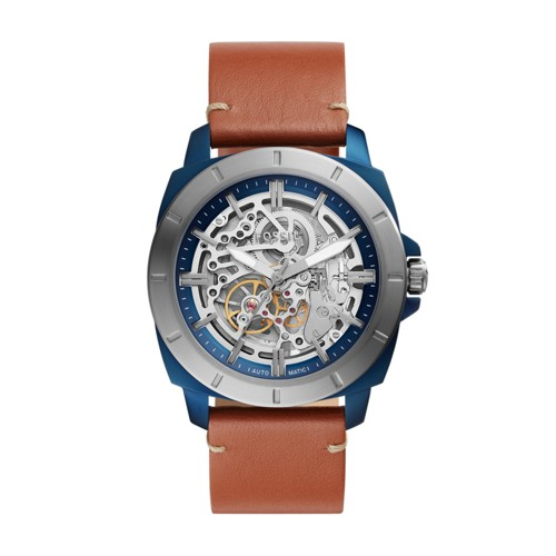 fossil Privateer Sport Mechanical Luggage Leather Watch BQ2427