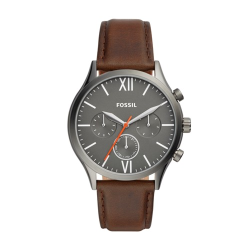 fossil Fenmore Midsize Multifunction Brown Leather Watch BQ2432