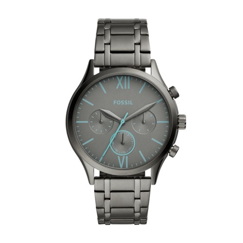 fossil Fenmore Midsize Multifunction Smoke Stainless Steel Watch BQ2433