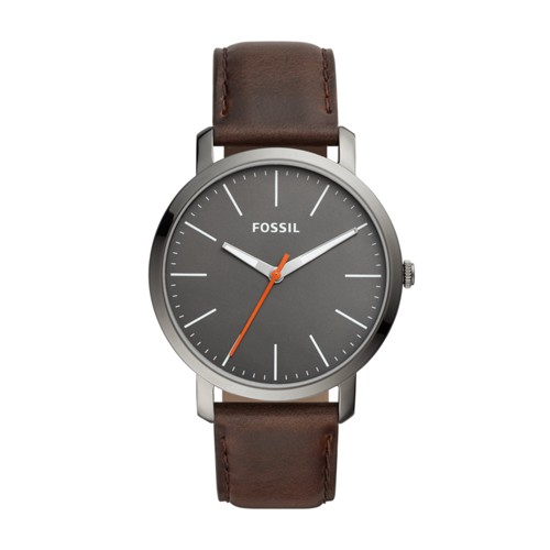 fossil Luther Three-Hand Brown Leather Watch BQ2434