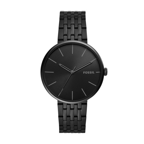 Fossil Hutton Three-Hand Black Stainless Steel Watch  jewelry