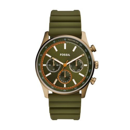 fossil Sullivan Multifunction Olive Green Silicone Watch BQ2446