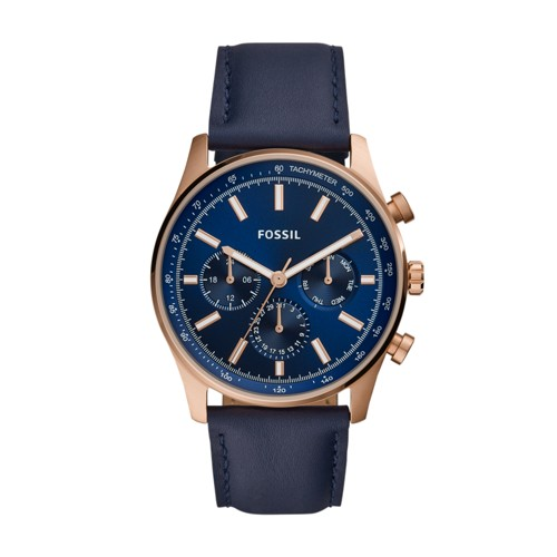 fossil Sullivan Multifunction Navy Leather Watch BQ2449