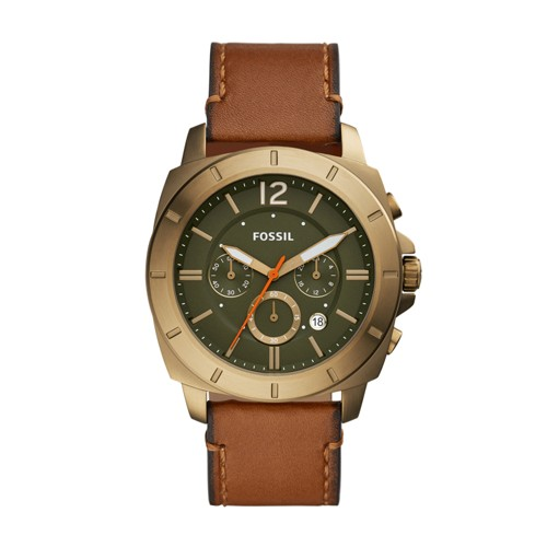 fossil Privateer Sport Chronograph Luggage Leather Watch BQ2451