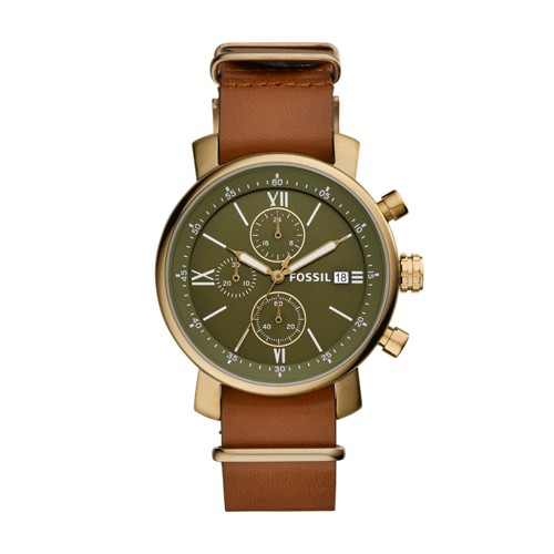 fossil Rhett Chronograph Luggage Leather Watch BQ2452