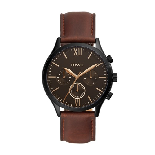 fossil Fenmore Midsize Multifunction Brown Leather Watch BQ2453