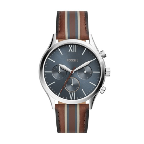 fossil Fenmore Midsize Multifunction Brown Striped Leather Watch BQ2454