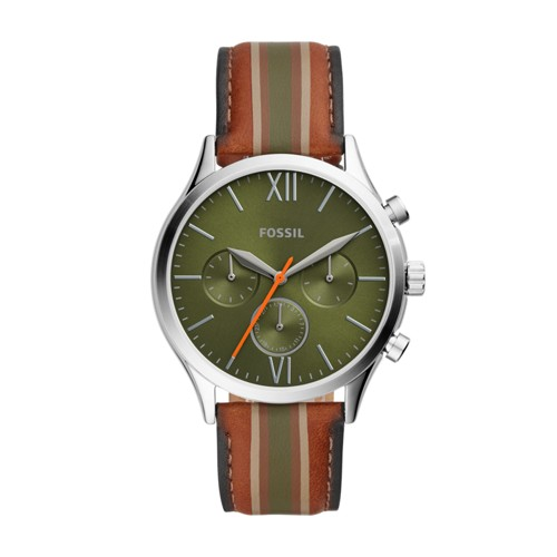Fenmore Midsize Multifunction Tan Striped Leather Watch BQ2455
