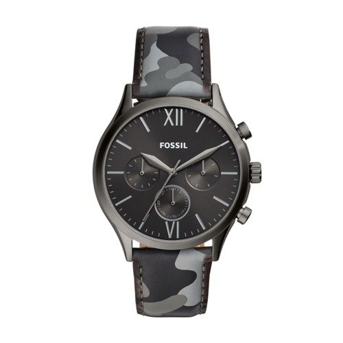 Fenmore Midsize Multifunction Smoke Camo Leather Watch BQ2456