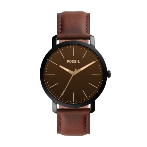 fossil Luther Three-Hand Brown Leather Watch BQ2460