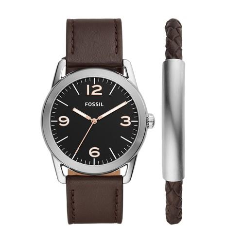 Ledger Three-Hand Brown Leather Watch and Bracelet Gift Set BQ2465SET