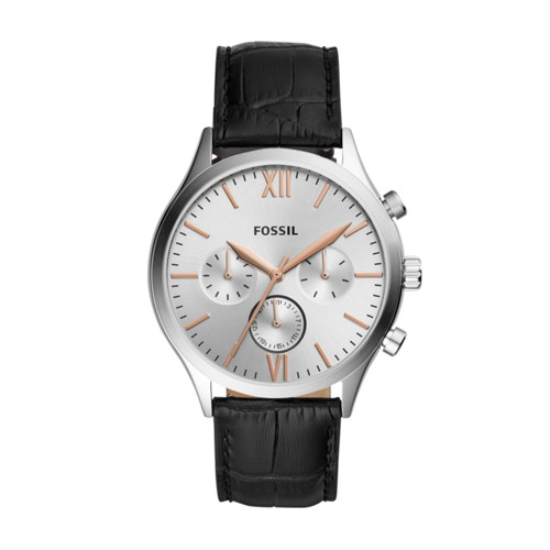 Fenmore Midsize Multifunction Black Leather Watch BQ2473