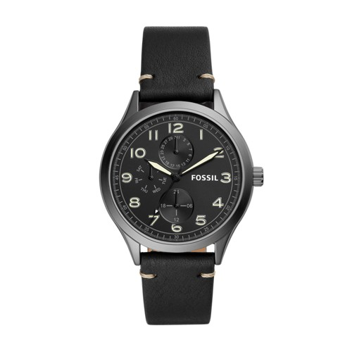 Wylie Multifunction Black Leather Watch BQ2483