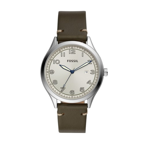 Wylie Three-Hand Gray Leather Watch BQ2488