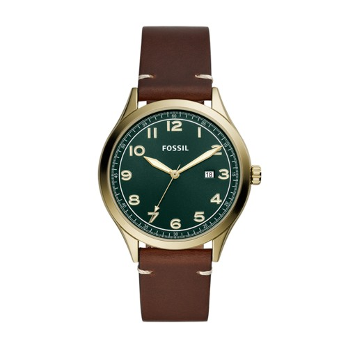 Wylie Three-Hand Brown Leather Watch BQ2489