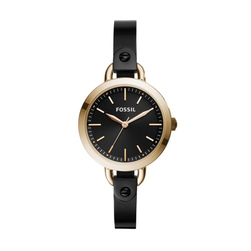 Fossil Classic Minute Three-Hand Rose Gold-Tone Black Stainless Steel Watch BQ3027