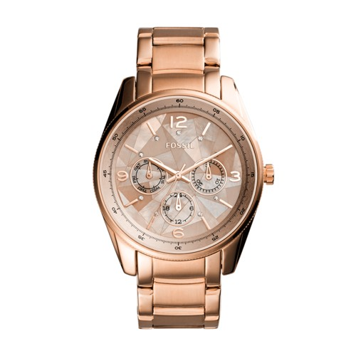 Fossil Justine Multifunction Rose Gold-Tone Stainless Steel Watch BQ3100