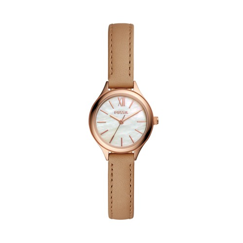 Fossil Suitor Mini Three-Hand Brown Leather Watch BQ3134