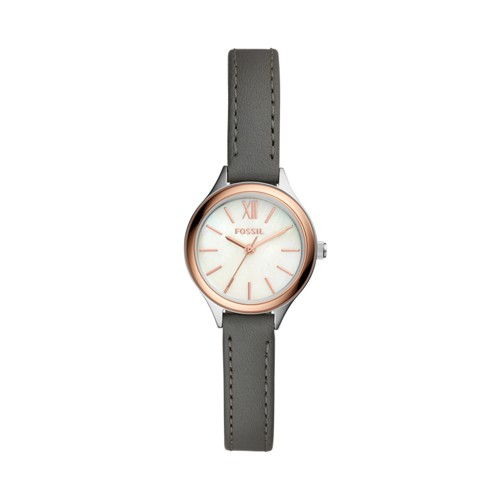 Fossil Suitor Mini Three-Hand Gray Leather Watch BQ3135