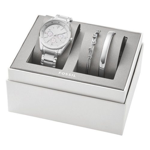 Fossil JustineChronograph Stainless Steel Watch and Jewelry Gift Set BQ3200SET