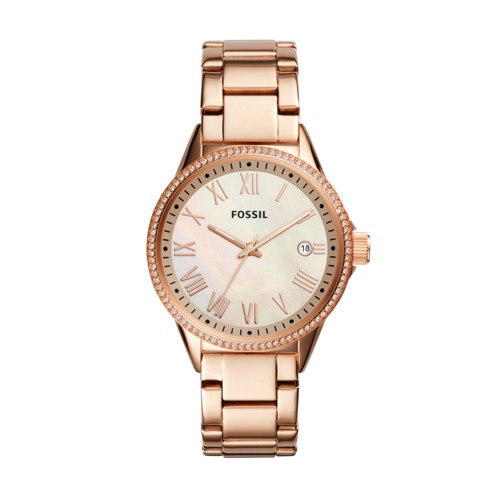 Fossil Blythe Three-Hand Rose Gold-Tone Stainless Steel Watch BQ3210