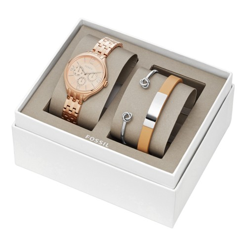 Fossil Suitor Multifunction Rose Gold-Tone Stainless Steel Watch and Jewelry Gift Set BQ3239SET