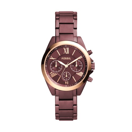 Fossil Modern Courier Midsize Chronograph Wine Stainless Steel Watch BQ3281