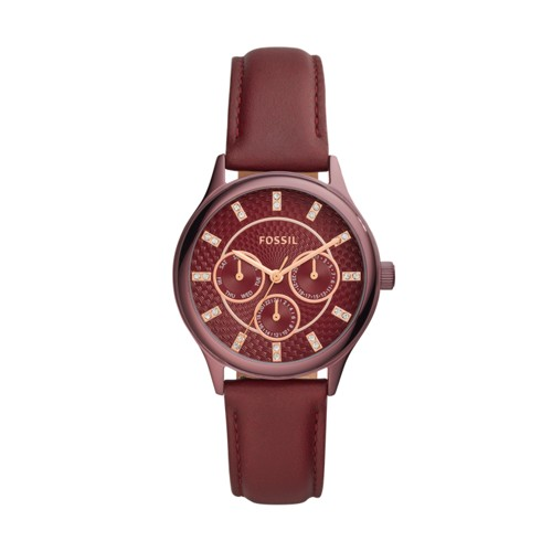 Modern Sophisticate Multifunction Wine Leather Watch BQ3285