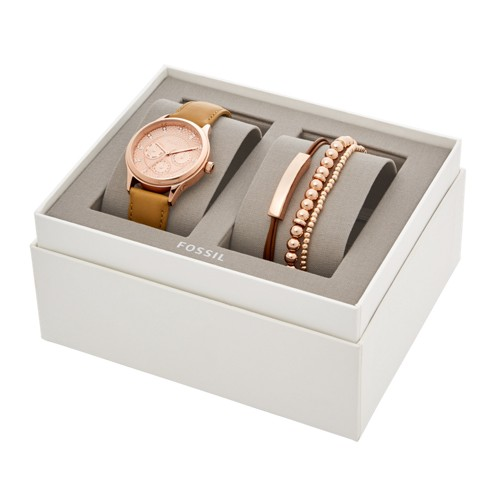Fossil Modern Sophisticate Multifunction Tan Leather Watch And Jewelry Gift Set Bq3297set