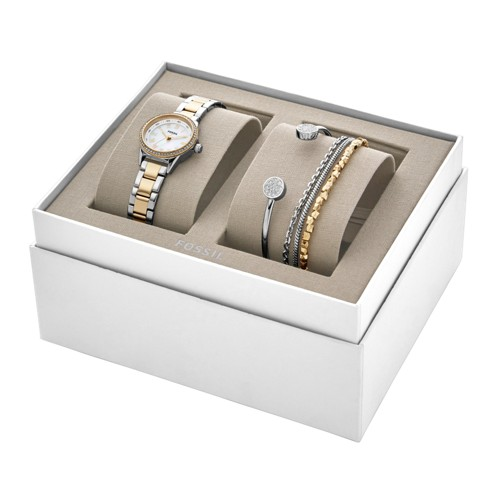 Fossil Blythe Three-Hand Two-Tone Stainless Steel Watch and Jewelry Gift Set BQ3298SET