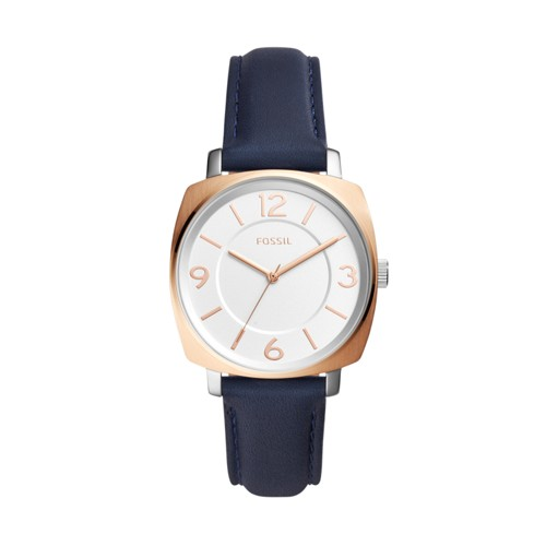 Fossil Blakely Three-Hand Navy Leather Watch BQ3302