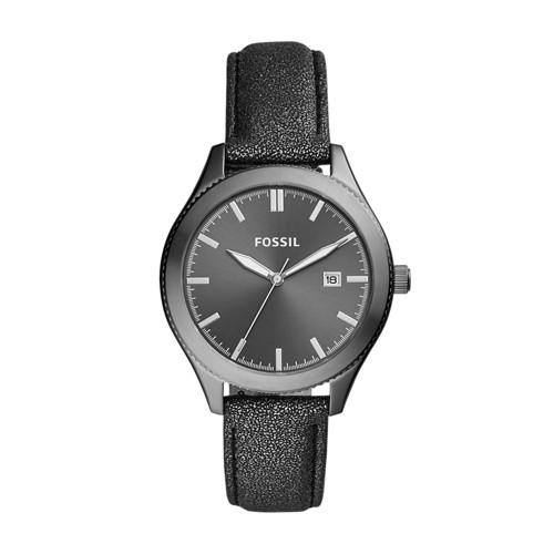 Fossil Typographer Three-Hand Date Smoke Polyurethane Watch BQ3312