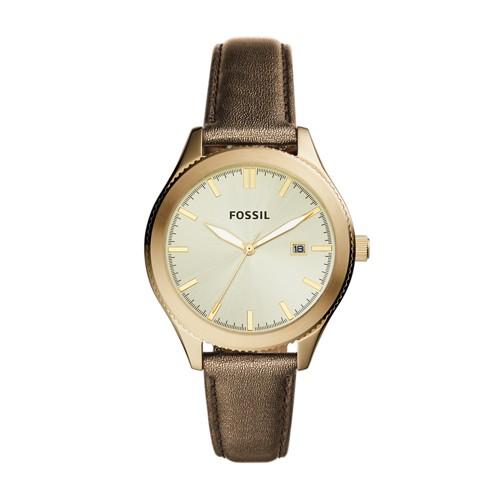 Fossil Typographer Three-Hand Date Gold Polyurethane Watch BQ3314