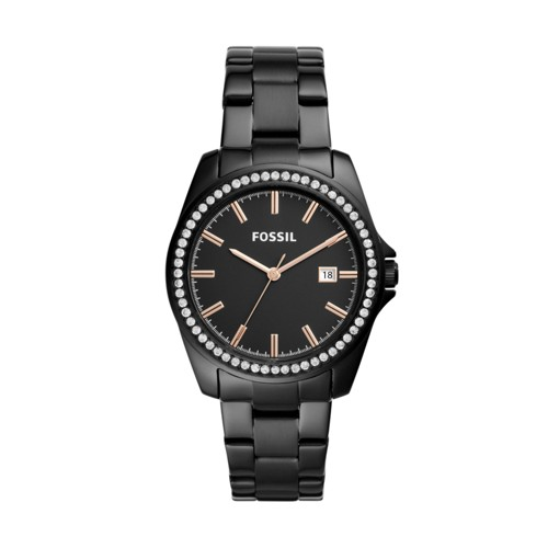 Fossil Janice Three-Hand Black Stainless Steel Watch BQ3318