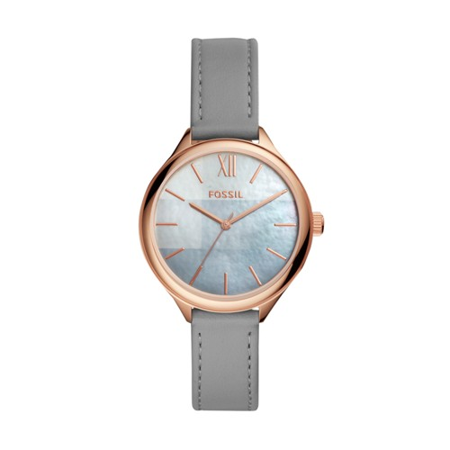 Fossil Suitor Three-Hand Gray Leather Watch Bq3329