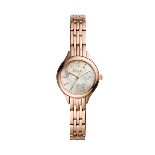 Fossil Suitor Mini Three-Hand Rose Gold-Tone Stainless Steel Watch Bq3333