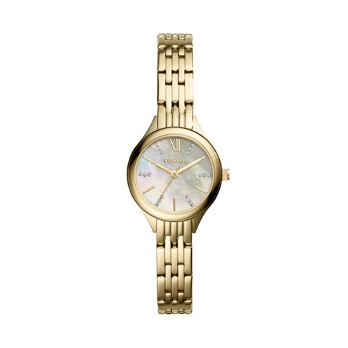 Fossil Suitor Mini Three-Hand Gold-Tone Stainless Steel Watch BQ3334
