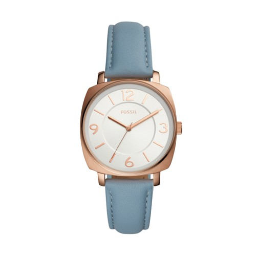 Fossil Blakely Three-Hand Blue Leather Watch Bq3340