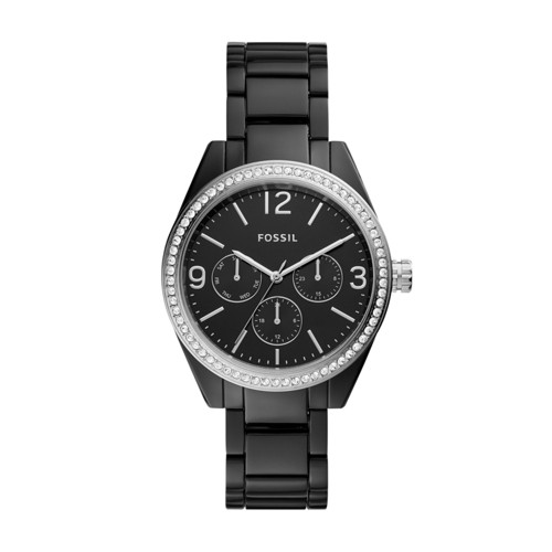 Caleigh Multifunction Black Acetate Watch BQ3342