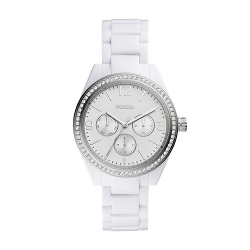 Fossil Caleigh Multifunction White Acetate Watch BQ3343