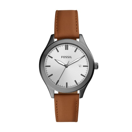 Fossil Typographer Three-Hand Date Brown Leather Watch BQ3345