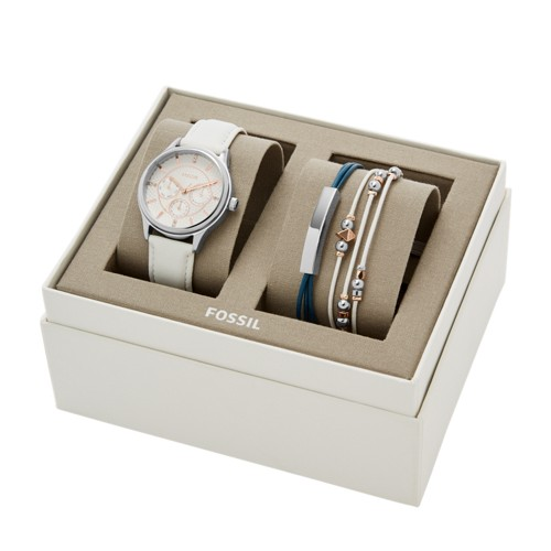 Fossil Modern Sophisticate Multifunction White Leather Watch and Jewelry Gift Set BQ3351SET